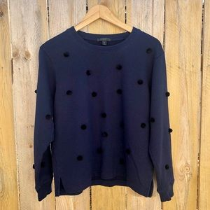 J Crew | Navy Sweatshirt w/ Black Pom Pom Size M